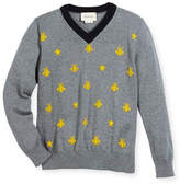 Gucci Long-Sleeve Bees & Stars Merino Wool Sweater, Size 4-12