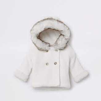 River Island Baby white faux fur knit hooded cardigan
