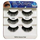 Broadway Eyes Black Strip False Eyelash Trio Pack 100% Human Hair #38K BLAT12 (6-Pack)