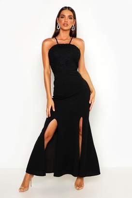 boohoo Crochet Lace Detail Maxi Dress