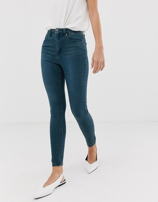 Asos Design DESIGN 'Sculpt me' high waisted premium jeans in green cast blue