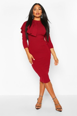 boohoo High Neck Pleated Ruffle Midi Dress