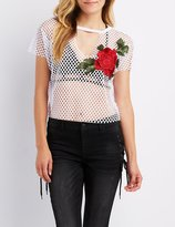 Charlotte Russe Rose Embroidered Mesh Tee