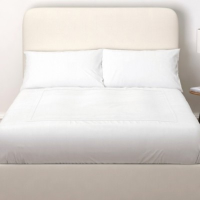 The White Company Melbury Cotton Headboard, Pearl Cotton, Emperor