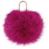 Yves Salomon Pink Fur Pom Pom Keychain