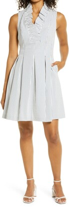 Harper Rose Stripe Seersucker Fit & Flare Dress