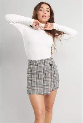 Garage Asymmetrical Plaid Mini Skirt
