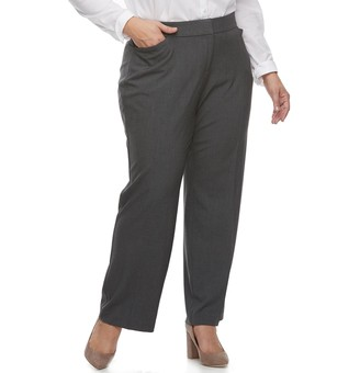 Croft & Barrow Plus Size Curvy Fit Straight-Leg Trousers