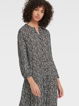 DKNY Women's Long Sleeve Ruched Midi Dress - Black Ivory Multi - Size XX-Small