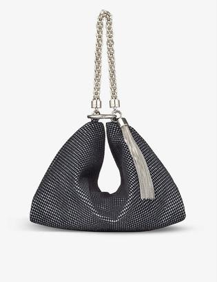 Jimmy Choo Callie glitter velvet clutch bag