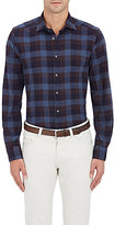 Boglioli Men's Plaid Cotton Flannel Shirt-BLUE