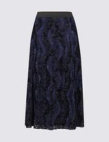 Classic Tonal Floral Print A-Line Midi Skirt