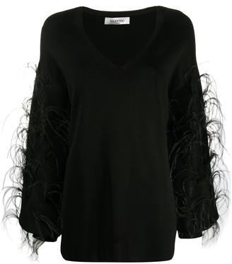 Valentino feather-embellished V-neck jumper