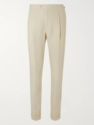 Saman Amel - Tapered Linen Suit Trousers - Men - Neutrals