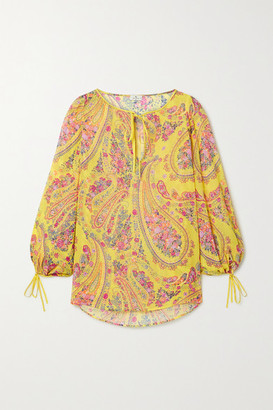 Etro Altai Tie-detailed Printed Silk-georgette Blouse - Yellow