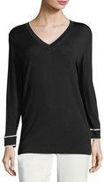 Escada Contrast-Tip V-Neck Sweater