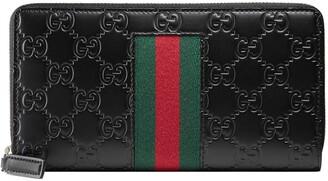 Gucci Signature Web zip around wallet