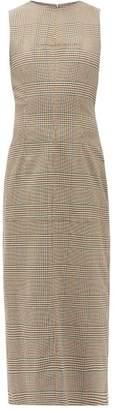 MM6 MAISON MARGIELA Slit-back Prince Of Wales-checked Twill Dress - Womens - Beige Multi