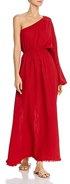Red Carter One-Shoulder Maxi Dress Swim Cover-Up