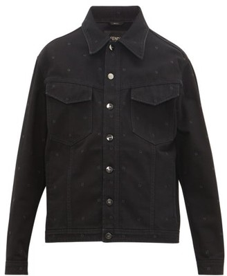 Fendi Ff-embroidered Denim Jacket - Black