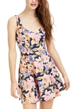 Trixxi Juniors' Metallic Floral-Print Fit & Flare Dress