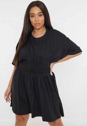 Missguided Plus Size Black Ruched Waist T Shirt Dress