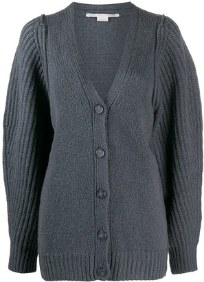 Stella McCartney Puff-Sleeve Ribbed Cardigan