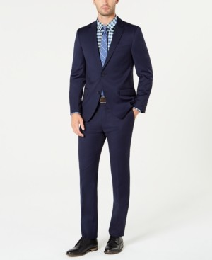 Tommy Hilfiger Men's Slim-Fit Th Flex Stretch Navy Solid Suit