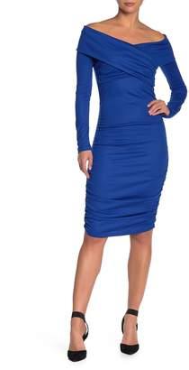 Diane von Furstenberg Off-the-Shoulder Ruched Jersey Dress