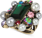Betsey Johnson Brass-Tone Green Stone, Imitation Pearl and Crystal Cluster Ring