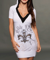 Rebel Spirit White & Black Fleur-de-Lis Hooded V-Neck Dress - Women
