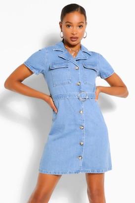boohoo Belted Denim Dress