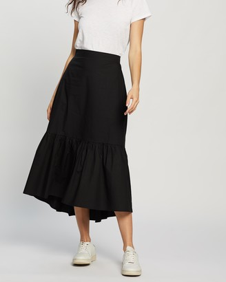 Atmos & Here Atmos&Here - Women's Black Midi Skirts - Connie Cotton Skirt - Size 6 at The Iconic