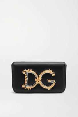 Dolce & Gabbana Girls Embellished Leather Shoulder Bag - Black