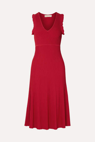 MICHAEL Michael Kors Ruffled Ribbed-knit Midi Dress - Red