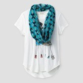 Self Esteem Girls' Short Sleeve Scarf Top - Off White