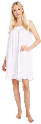 Eileen West 100% Rayon Sleeveless Short Chemise (Pink Stripe) Women's Pajama
