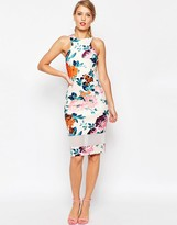 Asos Mesh Panel Cutaway Neck Floral Body-Conscious Midi Dress
