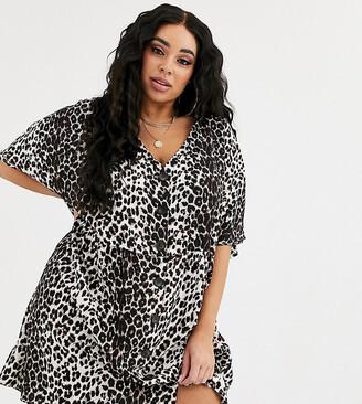 Asos DESIGN Curve v neck button through mini smock dress in leopard print