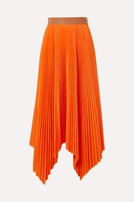 Loewe Asymmetric Leather-trimmed Pleated Poplin Midi Skirt - Orange