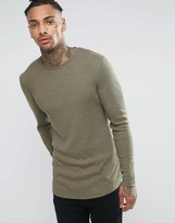 Asos Rib Longline Muscle Long Sleeve T-Shirt With Curved Hem In Khaki