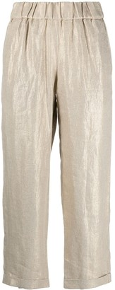 Seventy Metallic-Coated Cropped High-Waisted Trousers