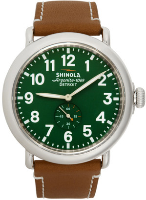 Shinola Silver and Green The Runwell 47mm Watch