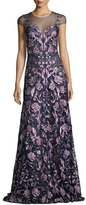 Marchesa Cap-Sleeve Embroidered Floral Mesh Gown, Navy/Purple