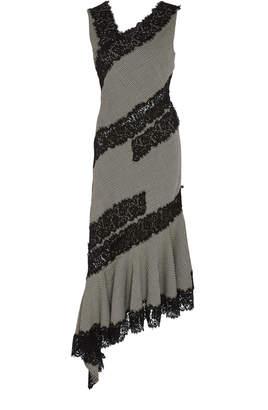 Prabal Gurung Jamrud Lace-Trimmed Wool Midi Dress