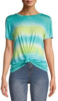 No Boundaries Juniors' Tie Dye Front Knot T-Shirt