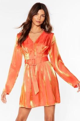 Nasty Gal Womens Shimmer on Over Belted Mini Dress - Orange