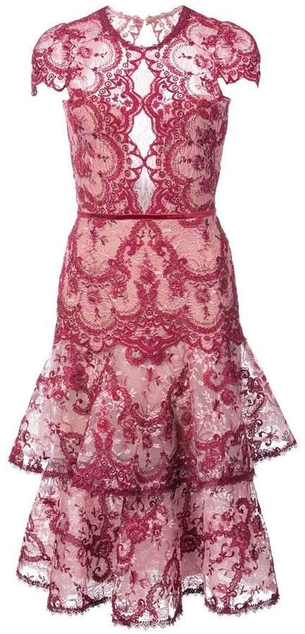 Marchesa embroidered lace midi dress