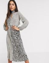 Asos Design DESIGN mixed plisse midi dress in animal print