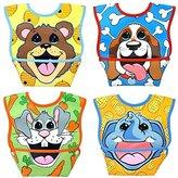 Dex Baby Dura-bib Big Mouth- 4 Pack (Bear Cub, Puppy, Bunny, Elephant) 3-12 Months